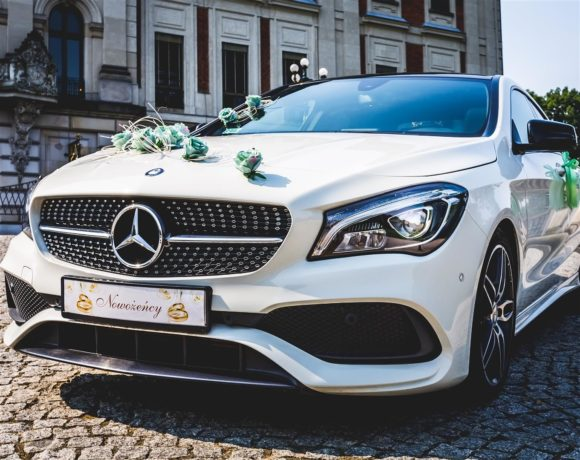 Samochód ślubny przed zamkniem w Pszczynie
